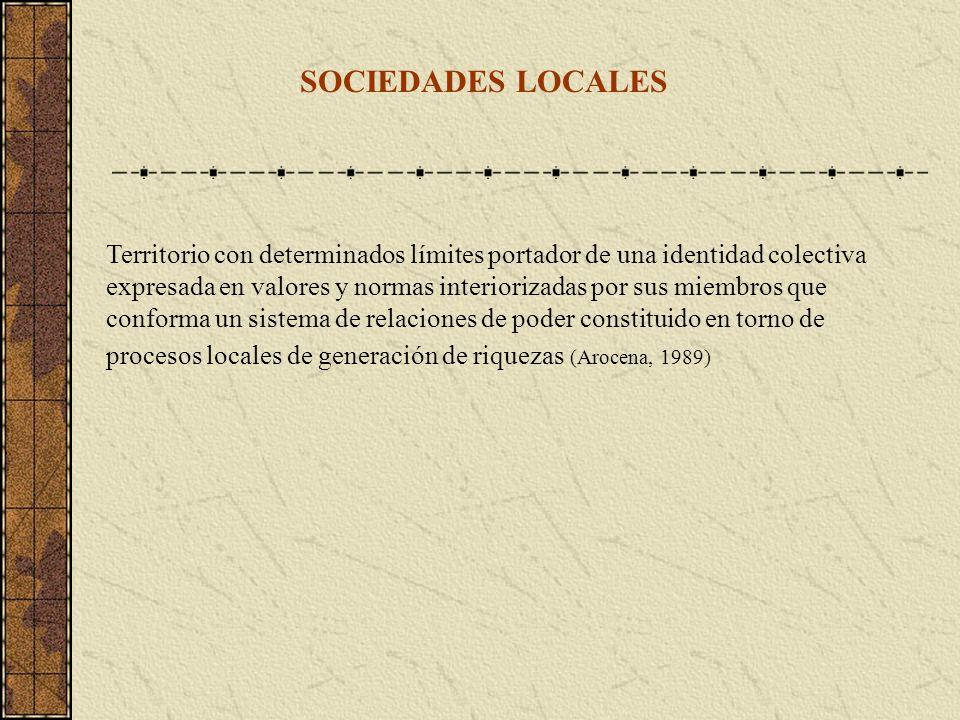 SOCIEDADES LOCALES Territorio con determinados límites portador de una identidad colectiva expresada en valores y normas interiorizadas por sus miembr