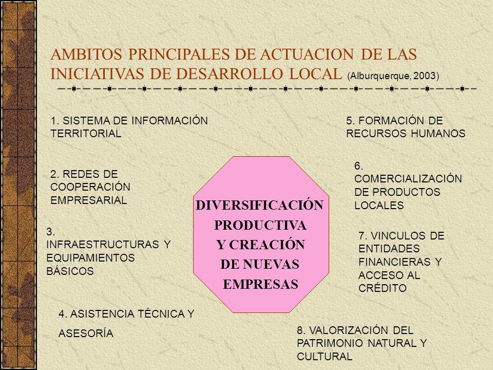 AMBITOS PRINCIPALES DE ACTUACION DE LAS INICIATIVAS DE DESARROLLO LOCAL (Alburquerque, 2003) DIVERSIFICACIÓN PRODUCTIVA Y CREACIÓN DE NUEVAS EMPRESAS