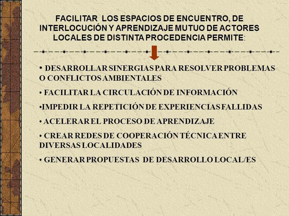 FACILITAR LOS ESPACIOS DE ENCUENTRO, DE INTERLOCUCIÓN Y APRENDIZAJE MUTUO DE ACTORES LOCALES DE DISTINTA PROCEDENCIA PERMITE: DESARROLLAR SINERGIAS PA