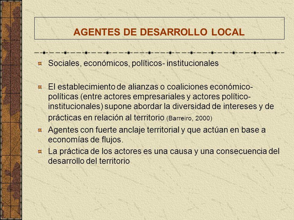 AGENTES DE DESARROLLO LOCAL Sociales, económicos, políticos- institucionales El establecimiento de alianzas o coaliciones económico- políticas (entre
