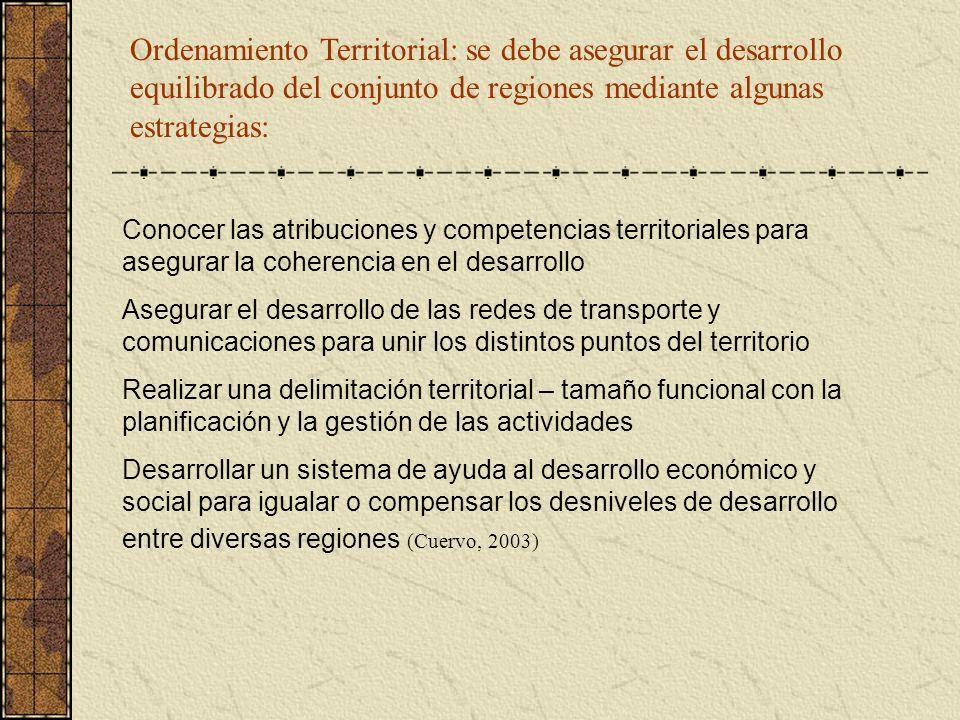 Ordenamiento Territorial: se debe asegurar el desarrollo equilibrado del conjunto de regiones mediante algunas estrategias: Conocer las atribuciones y
