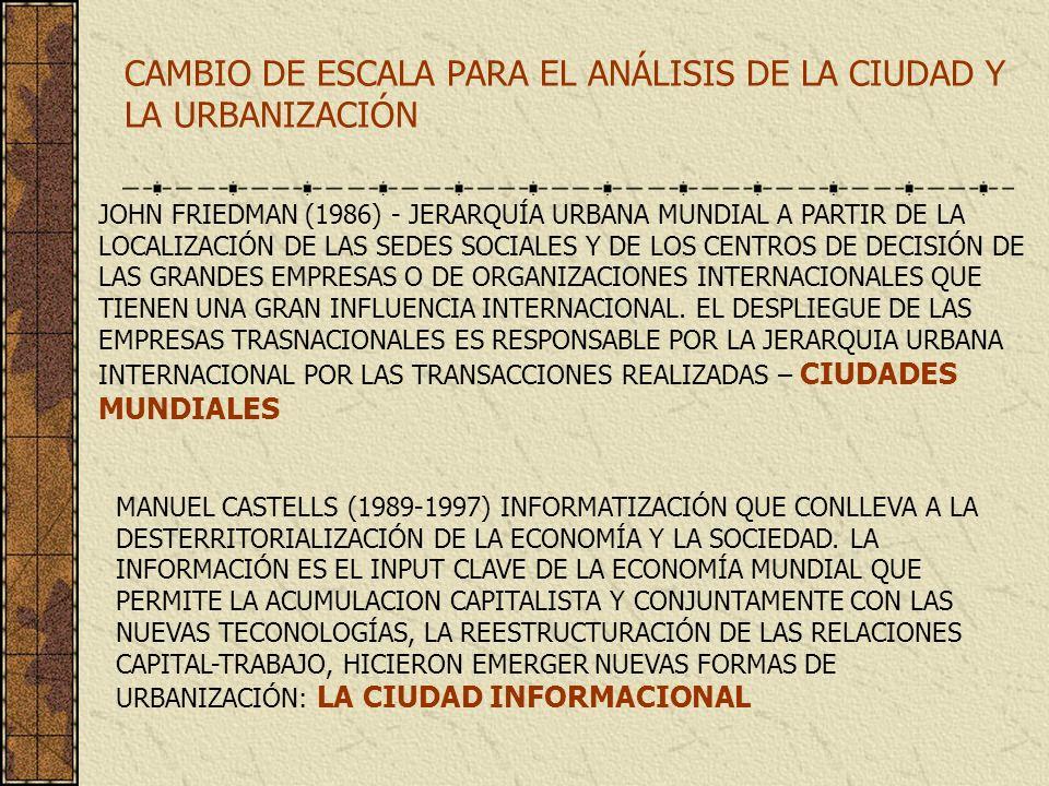 CAMBIO DE ESCALA PARA EL ANÁLISIS DE LA CIUDAD Y LA URBANIZACIÓN JOHN FRIEDMAN (1986) - JERARQUÍA URBANA MUNDIAL A PARTIR DE LA LOCALIZACIÓN DE LAS SE
