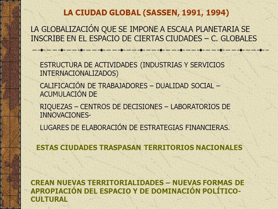 LA CIUDAD GLOBAL (SASSEN, 1991, 1994) LA GLOBALIZACIÓN QUE SE IMPONE A ESCALA PLANETARIA SE INSCRIBE EN EL ESPACIO DE CIERTAS CIUDADES – C. GLOBALES E