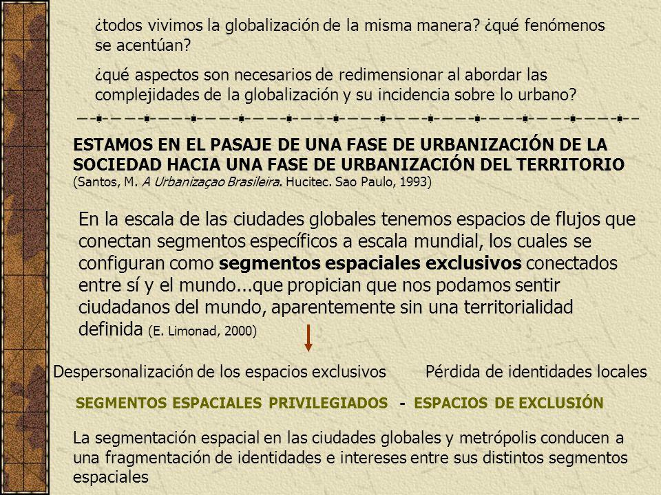 La globalización genera una lógica que tiende a disminuir las autonomías, a aumentar las interdependencias, a acrecentar la fragmentación de las unidades territoriales, a producir marginación de algunas zonas.