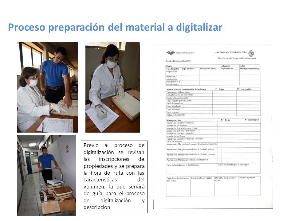 Proceso preparación del material a digitalizar Previo al proceso de digitalización se revisan las inscripciones de propiedades y se prepara la hoja de