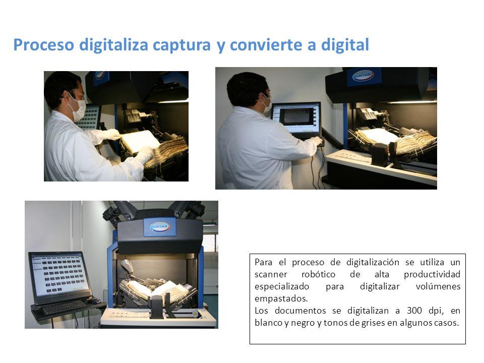 Proceso digitaliza captura y convierte a digital Para el proceso de digitalización se utiliza un scanner robótico de alta productividad especializado