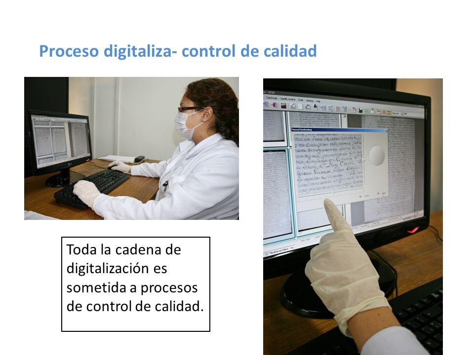 Proceso digitaliza- control de calidad Toda la cadena de digitalización es sometida a procesos de control de calidad.