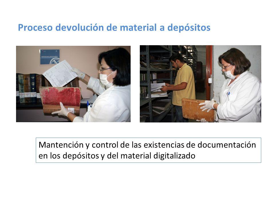 Proceso devolución de material a depósitos Mantención y control de las existencias de documentación en los depósitos y del material digitalizado