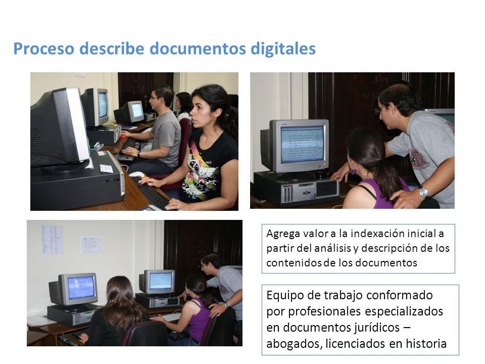 Proceso describe documentos digitales Equipo de trabajo conformado por profesionales especializados en documentos jurídicos – abogados, licenciados en