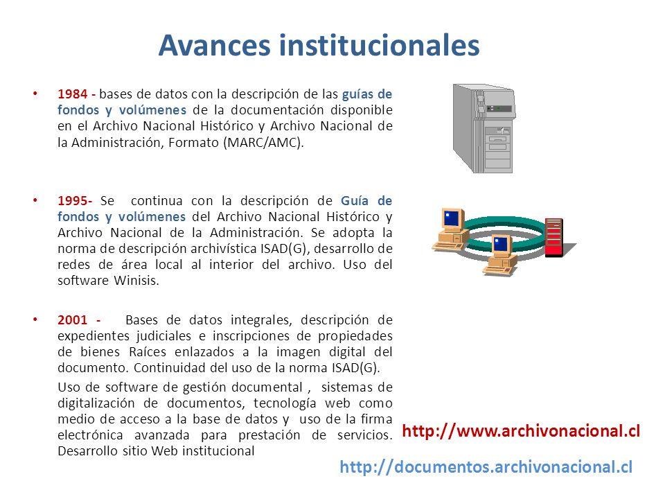 Avances institucionales 1984 - bases de datos con la descripción de las guías de fondos y volúmenes de la documentación disponible en el Archivo Nacio