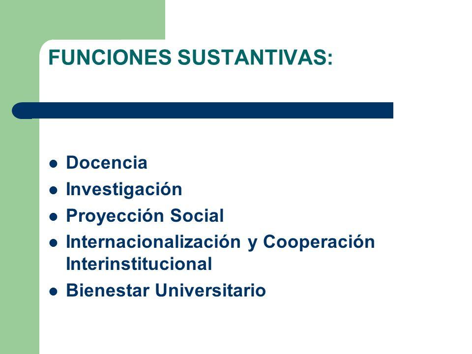 FUNCIONES SUSTANTIVAS: Docencia Investigación Proyección Social Internacionalización y Cooperación Interinstitucional Bienestar Universitario