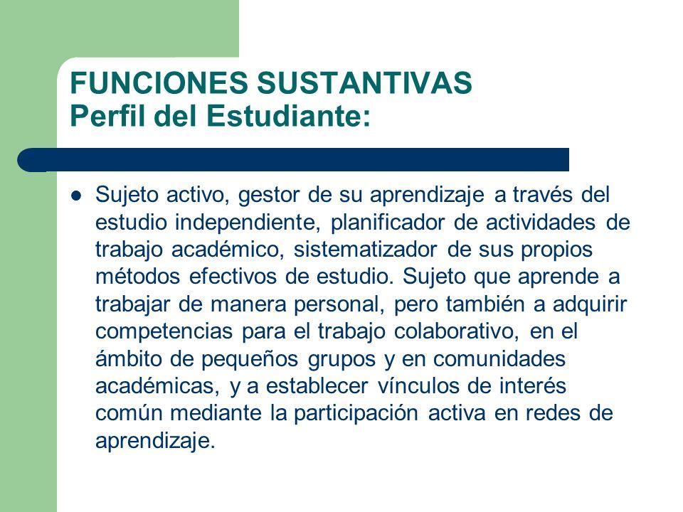 FUNCIONES SUSTANTIVAS Perfil del Estudiante: Sujeto activo, gestor de su aprendizaje a través del estudio independiente, planificador de actividades d