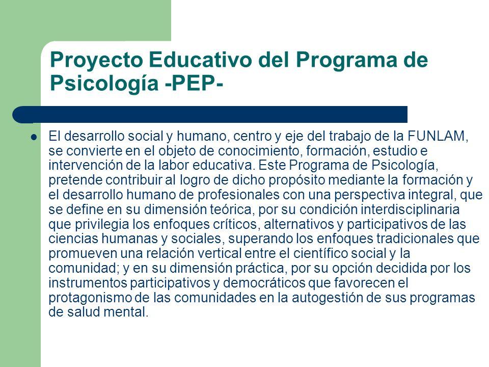 Proyecto Educativo del Programa de Psicología -PEP- El desarrollo social y humano, centro y eje del trabajo de la FUNLAM, se convierte en el objeto de