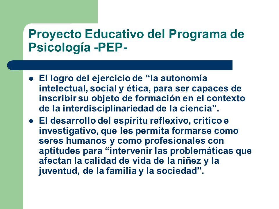 Proyecto Educativo del Programa de Psicología -PEP- El logro del ejercicio de la autonomía intelectual, social y ética, para ser capaces de inscribir