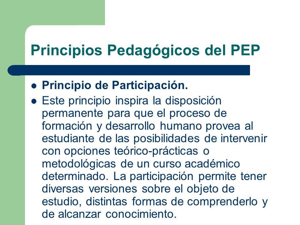 Principios Pedagógicos del PEP Principio de Participación. Este principio inspira la disposición permanente para que el proceso de formación y desarro