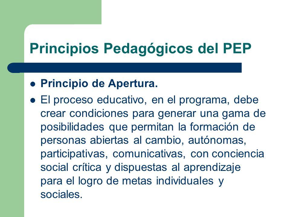Principios Pedagógicos del PEP Principio de Apertura. El proceso educativo, en el programa, debe crear condiciones para generar una gama de posibilida