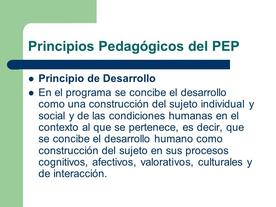 Principio de Desarrollo En el programa se concibe el desarrollo como una construcción del sujeto individual y social y de las condiciones humanas en e