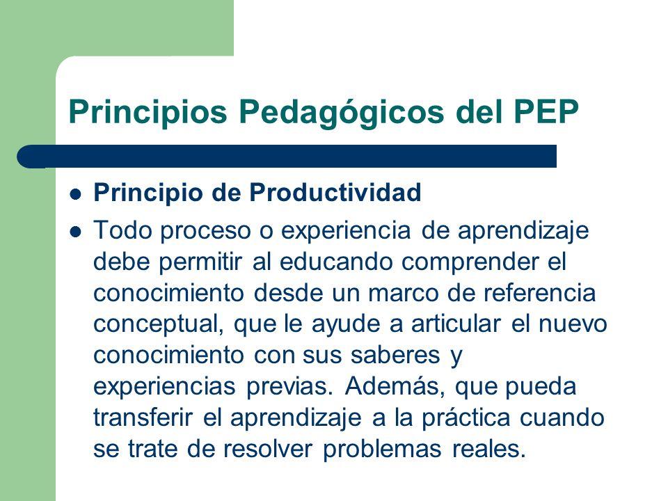 Principio de Productividad Todo proceso o experiencia de aprendizaje debe permitir al educando comprender el conocimiento desde un marco de referencia