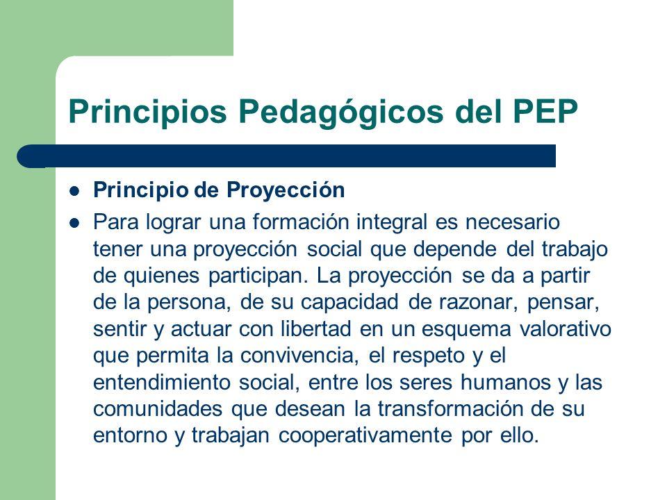 Principio de Proyección Para lograr una formación integral es necesario tener una proyección social que depende del trabajo de quienes participan. La