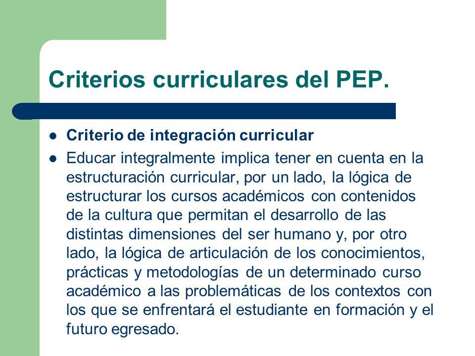 Criterios curriculares del PEP. Criterio de integración curricular Educar integralmente implica tener en cuenta en la estructuración curricular, por u