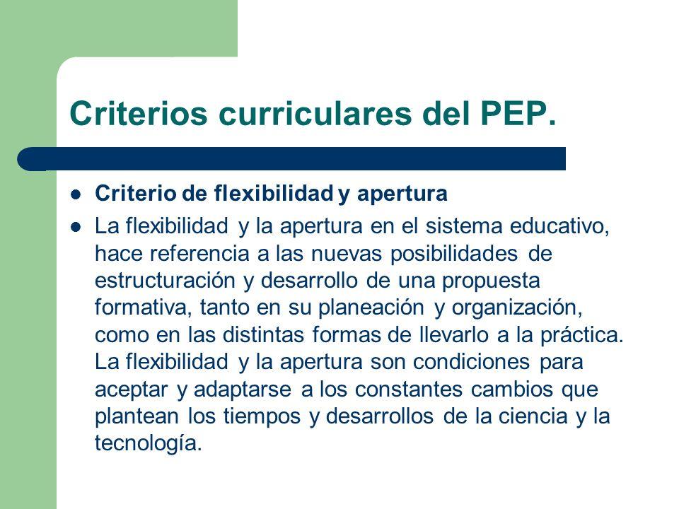 Criterio de flexibilidad y apertura La flexibilidad y la apertura en el sistema educativo, hace referencia a las nuevas posibilidades de estructuració