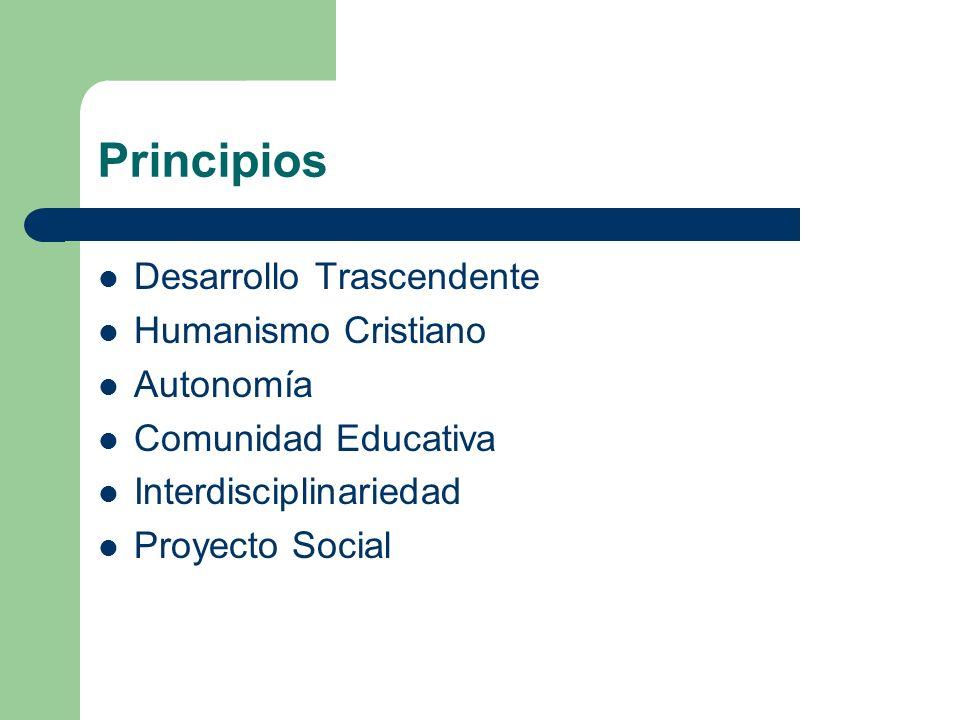 Principios Desarrollo Trascendente Humanismo Cristiano Autonomía Comunidad Educativa Interdisciplinariedad Proyecto Social