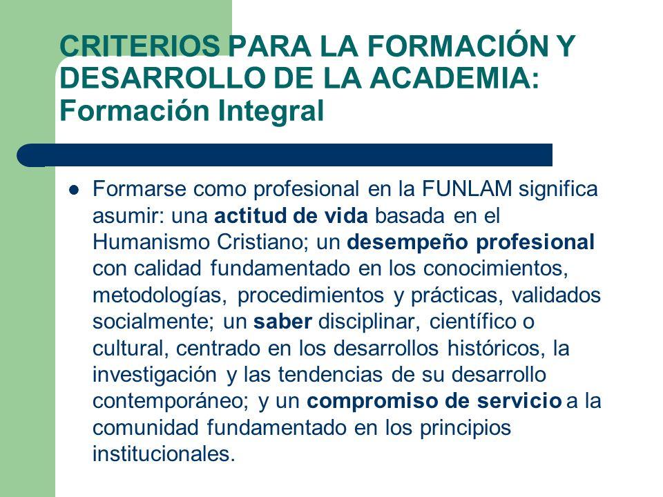 Formarse como profesional en la FUNLAM significa asumir: una actitud de vida basada en el Humanismo Cristiano; un desempeño profesional con calidad fu