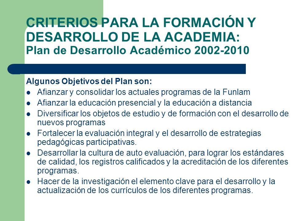 CRITERIOS PARA LA FORMACIÓN Y DESARROLLO DE LA ACADEMIA: Plan de Desarrollo Académico 2002-2010 Algunos Objetivos del Plan son: Afianzar y consolidar