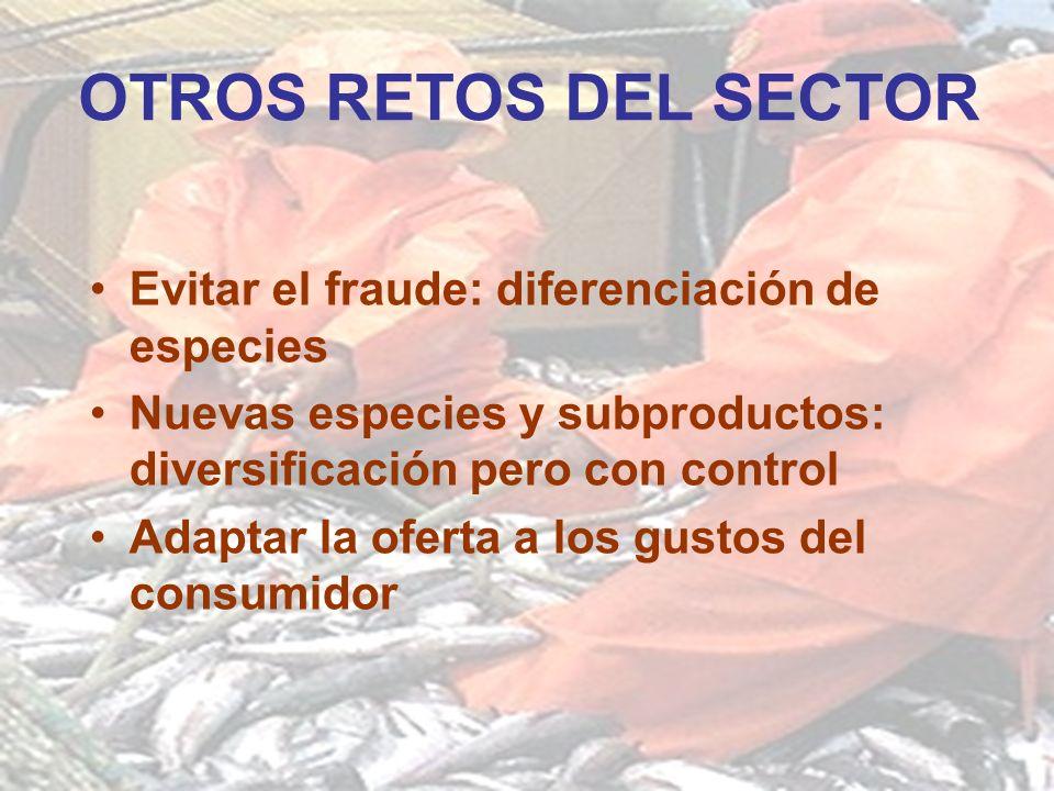 OTROS RETOS DEL SECTOR Evitar el fraude: diferenciación de especies Nuevas especies y subproductos: diversificación pero con control Adaptar la oferta a los gustos del consumidor