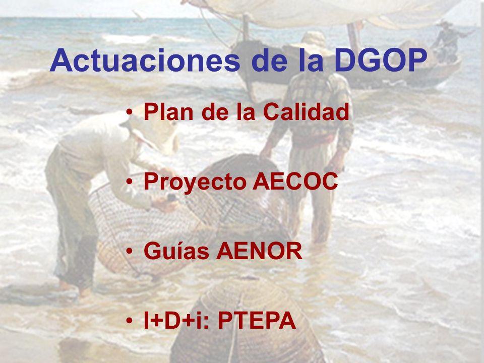 Actuaciones de la DGOP Plan de la Calidad Proyecto AECOC Guías AENOR I+D+i: PTEPA