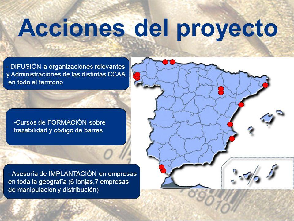 Acciones del proyecto - DIFUSIÓN a organizaciones relevantes y Administraciones de las distintas CCAA en todo el territorio -Cursos de FORMACIÓN sobre trazabilidad y código de barras - Asesoría de IMPLANTACIÓN en empresas en toda la geografía (6 lonjas,7 empresas de manipulación y distribución)