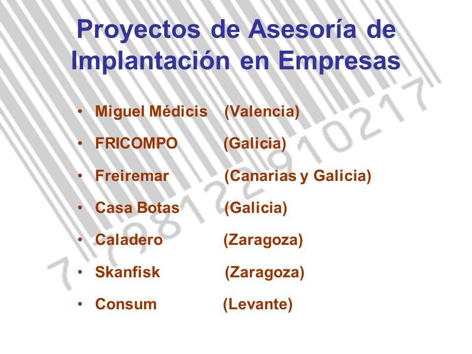 Proyectos de Asesoría de Implantación en Empresas Miguel Médicis (Valencia) FRICOMPO (Galicia) Freiremar (Canarias y Galicia) Casa Botas (Galicia) Caladero (Zaragoza) Skanfisk (Zaragoza) Consum (Levante)