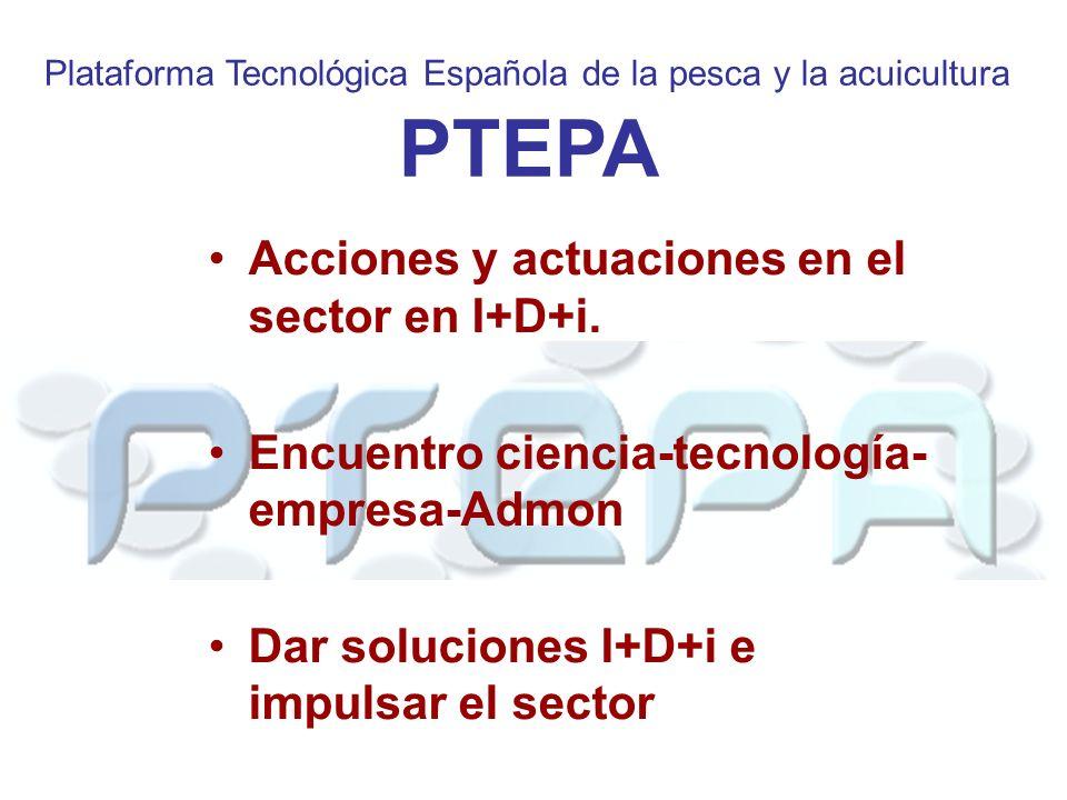 Plataforma Tecnológica Española de la pesca y la acuicultura PTEPA Acciones y actuaciones en el sector en I+D+i.