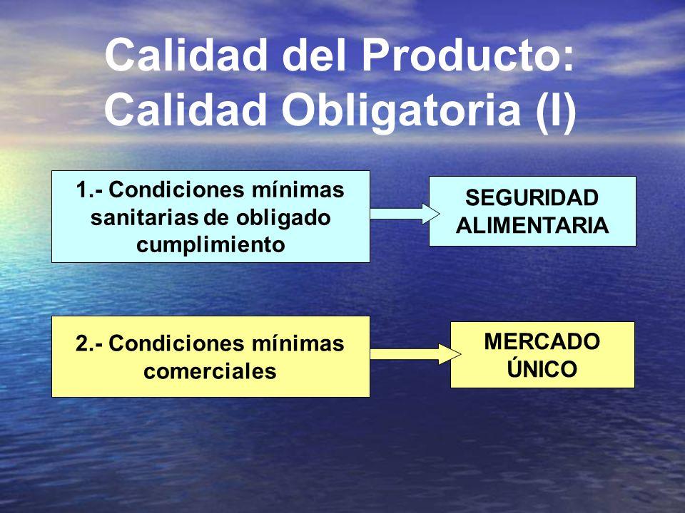 Calidad del Producto: Calidad Obligatoria (I) 1.- Condiciones mínimas sanitarias de obligado cumplimiento SEGURIDAD ALIMENTARIA 2.- Condiciones mínimas comerciales MERCADO ÚNICO