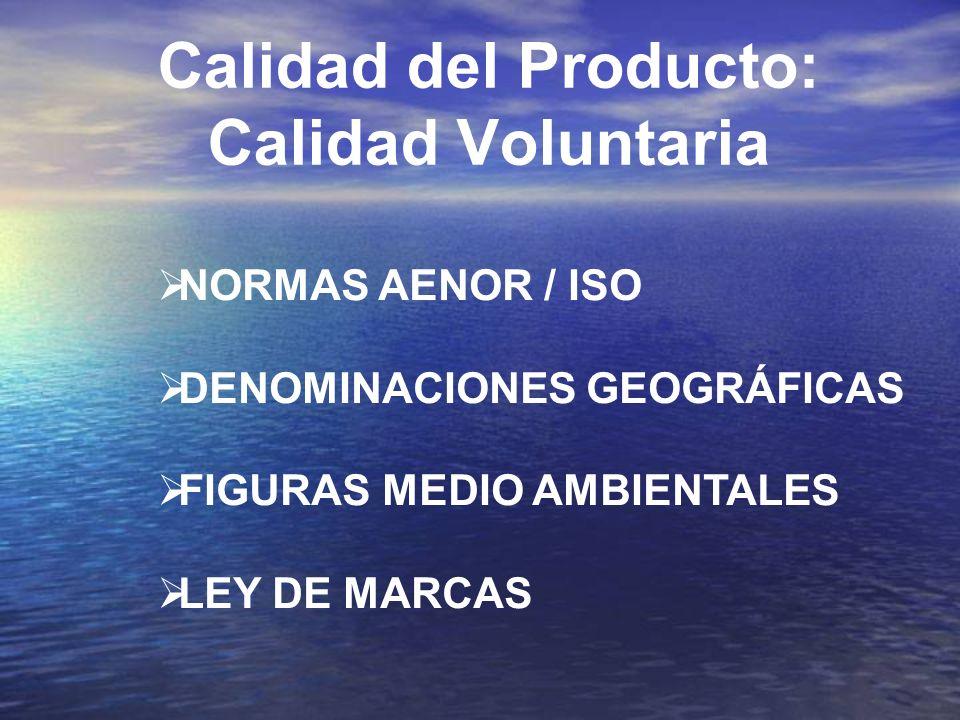 Calidad del Producto: Calidad Voluntaria NORMAS AENOR / ISO DENOMINACIONES GEOGRÁFICAS FIGURAS MEDIO AMBIENTALES LEY DE MARCAS