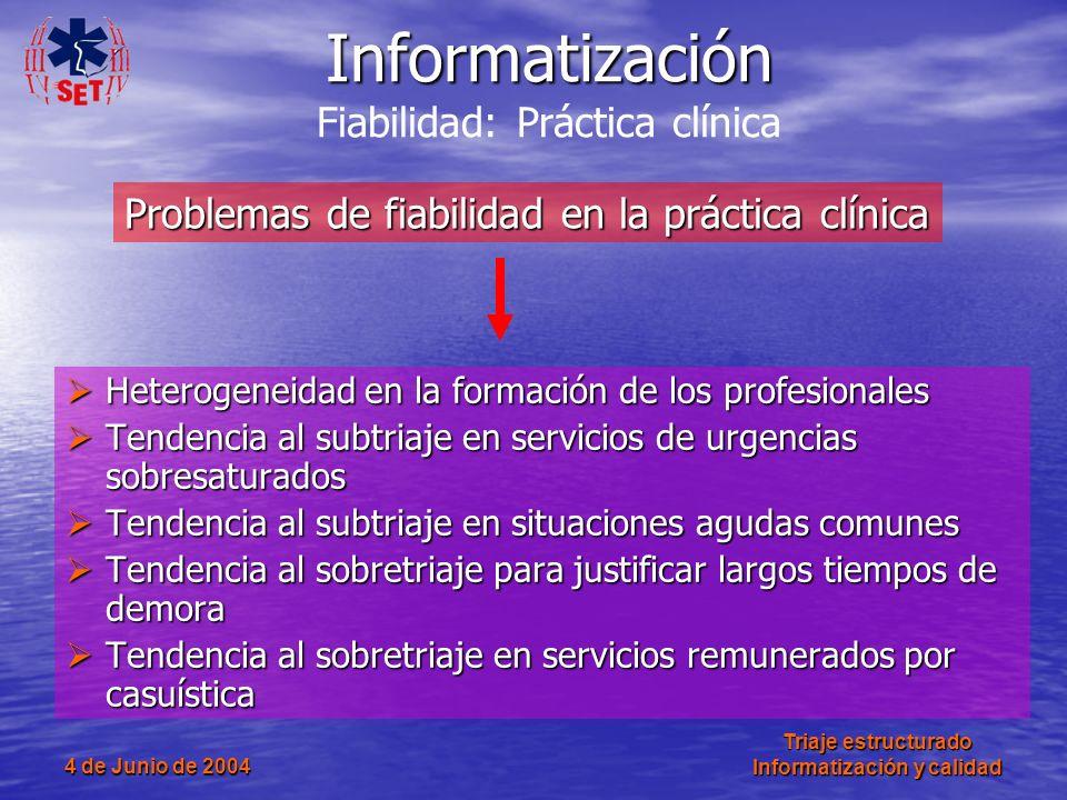 4 de Junio de 2004 Triaje estructurado Informatización y calidad Heterogeneidad en la formación de los profesionales Heterogeneidad en la formación de