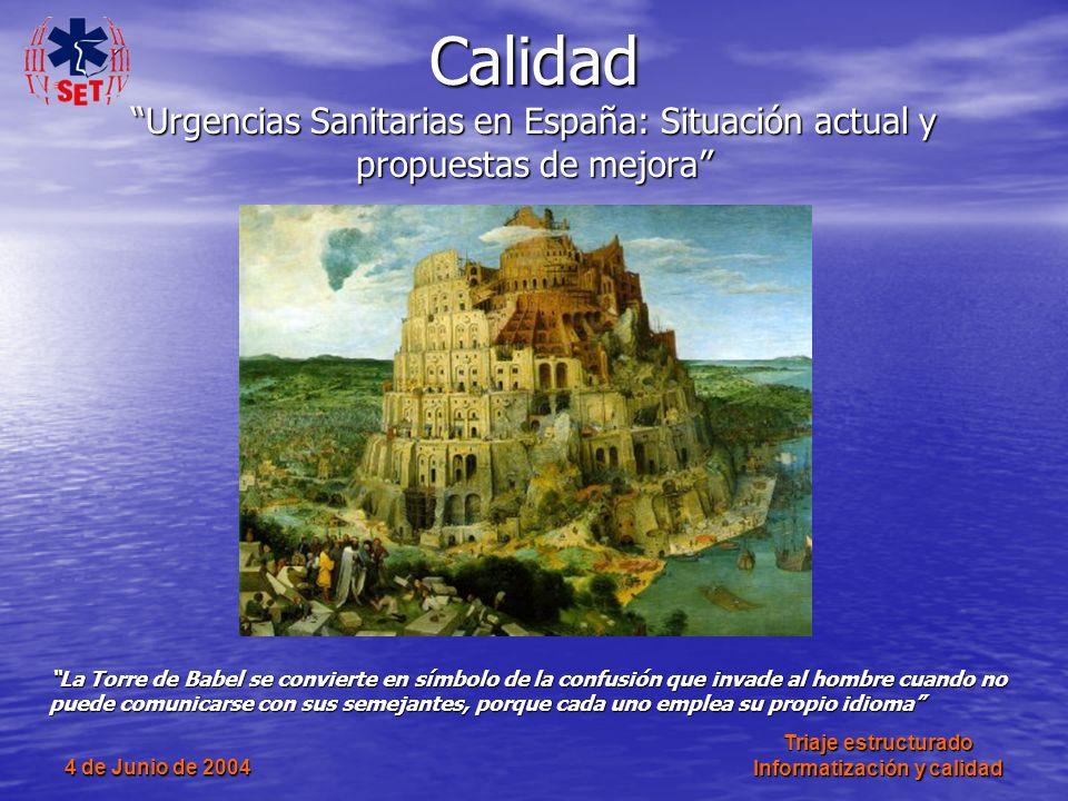 4 de Junio de 2004 Triaje estructurado Informatización y calidad Calidad Urgencias Sanitarias en España: Situación actual y propuestas de mejora La To