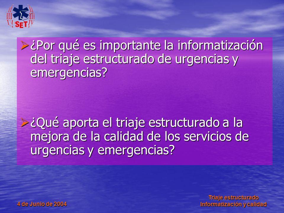 4 de Junio de 2004 Triaje estructurado Informatización y calidad ¿Por qué es importante la informatización del triaje estructurado de urgencias y emer