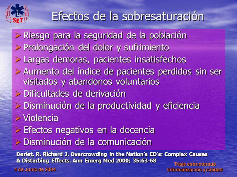 4 de Junio de 2004 Triaje estructurado Informatización y calidad Efectos de la sobresaturación Riesgo para la seguridad de la población Riesgo para la