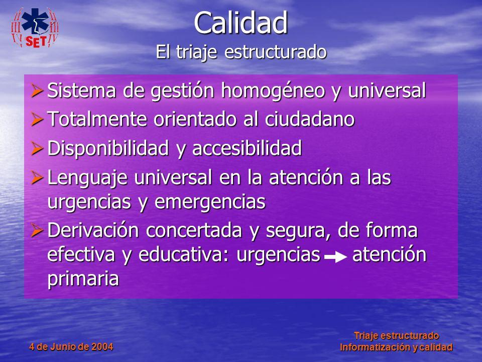 4 de Junio de 2004 Triaje estructurado Informatización y calidad Sistema de gestión homogéneo y universal Sistema de gestión homogéneo y universal Tot
