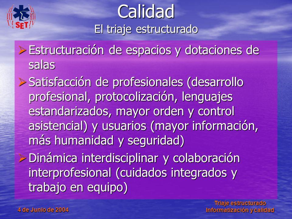 4 de Junio de 2004 Triaje estructurado Informatización y calidad Estructuración de espacios y dotaciones de salas Estructuración de espacios y dotacio