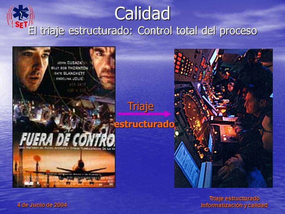 4 de Junio de 2004 Triaje estructurado Informatización y calidad Calidad El triaje estructurado: Control total del proceso Triaje estructurado