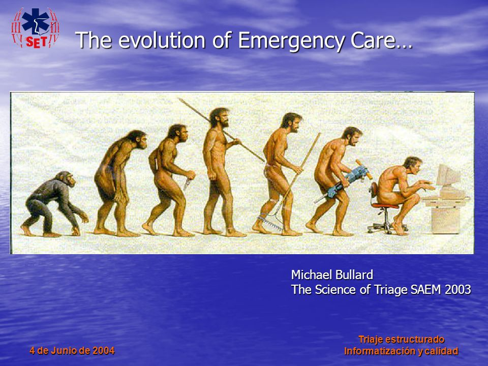4 de Junio de 2004 Triaje estructurado Informatización y calidad The evolution of Emergency Care… Michael Bullard The Science of Triage SAEM 2003