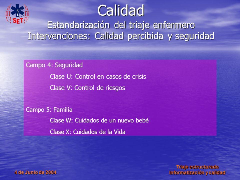 4 de Junio de 2004 Triaje estructurado Informatización y calidad Campo 4: Seguridad Clase U: Control en casos de crisis Clase V: Control de riesgos Ca
