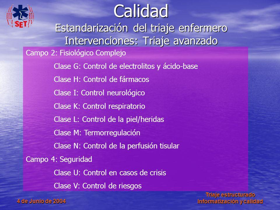 4 de Junio de 2004 Triaje estructurado Informatización y calidad Campo 2: Fisiológico Complejo Clase G: Control de electrolitos y ácido-base Clase H: