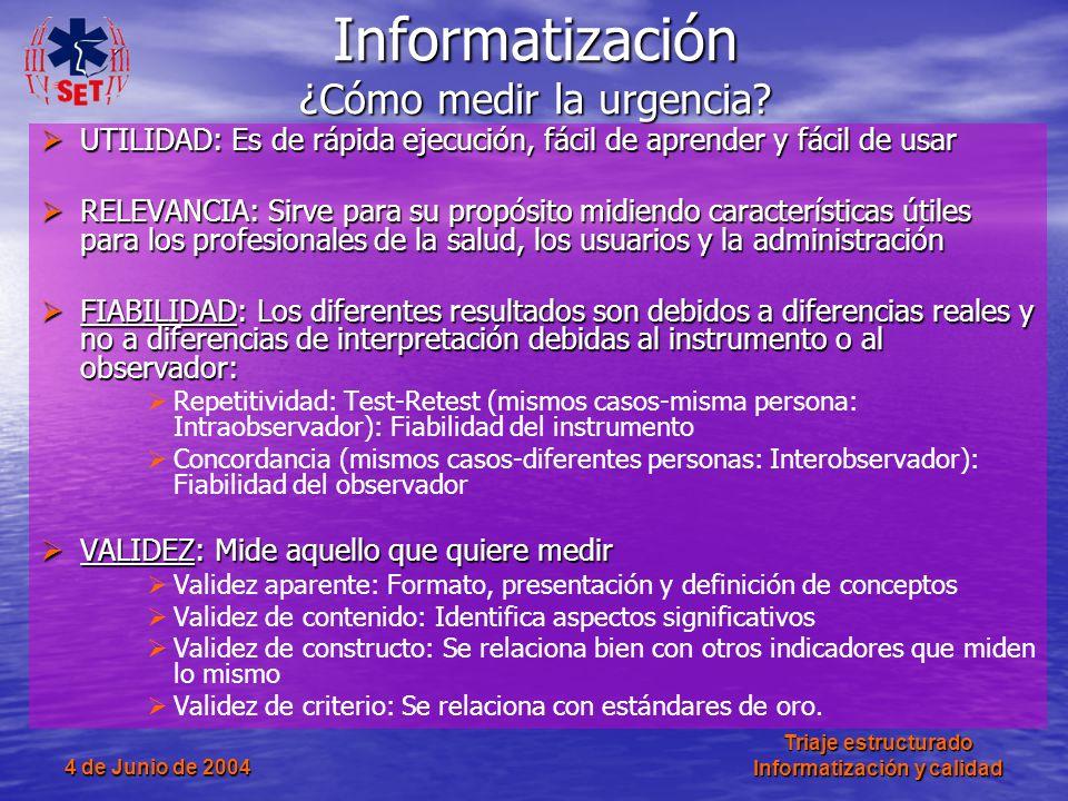 4 de Junio de 2004 Triaje estructurado Informatización y calidad Informatización ¿Cómo medir la urgencia? UTILIDAD: Es de rápida ejecución, fácil de a