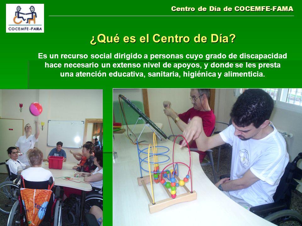 Centro de Día de COCEMFE-FAMA ¿Qué es el Centro de Día? Es un recurso social dirigido a personas cuyo grado de discapacidad hace necesario un extenso