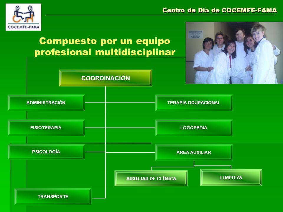 Centro de Día de COCEMFE-FAMA Compuesto por un equipo profesional multidisciplinar COORDINACIÓN ADMINISTRACIÓN TERAPIA OCUPACIONAL FISIOTERAPIALOGOPED