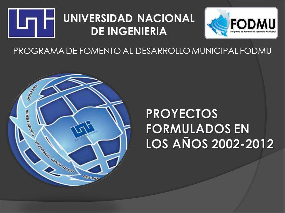 UNIVERSIDAD NACIONAL DE INGENIERIA PROGRAMA DE FOMENTO AL DESARROLLO MUNICIPAL FODMU