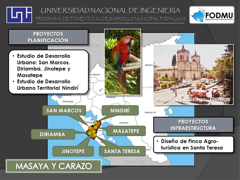 UNIVERSIDAD NACIONAL DE INGENIERIA PROGRAMA DE FOMENTO AL DESARROLLO MUNICIPAL FODMU-UNI JINOTEPE PROYECTOSPLANIFICACIÓNPROYECTOSPLANIFICACIÓN Estudio